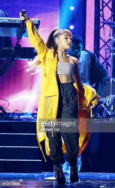 Ariana Grande performs onstage during the 2016 iHeartRadio Music Festival night 2 held at TMobile Arena on September 24 2016 in Las Vegas Nevada