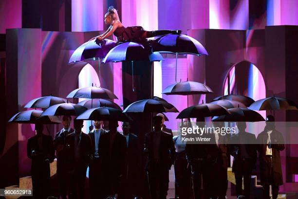 Ariana Grande performs onstage during the 2018 Billboard Music Awards at MGM Grand Garden Arena on May 20 2018 in Las Vegas Nevada