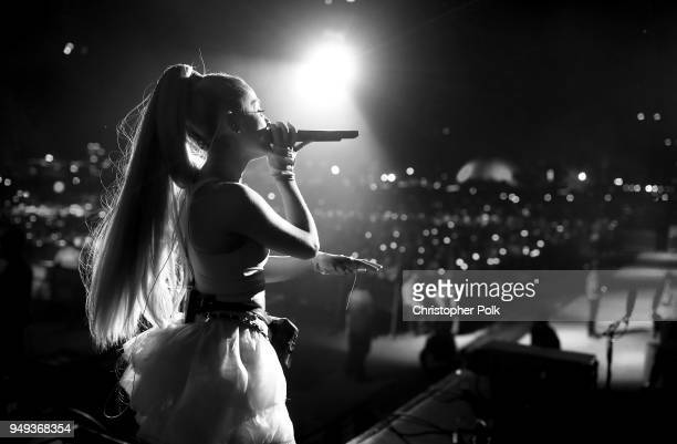 Ariana Grande performs onstage during the 2018 Coachella Valley Music And Arts Festival at the Empire Polo Field on April 20 2018 in Indio California