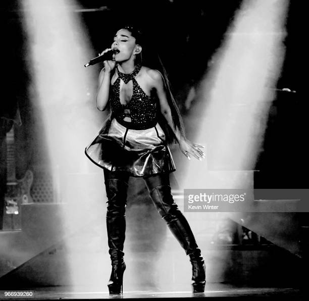 Ariana Grande performs onstage during the 2018 iHeartRadio by ATT at Banc of California Stadium on June 2 2018 in Los Angeles California