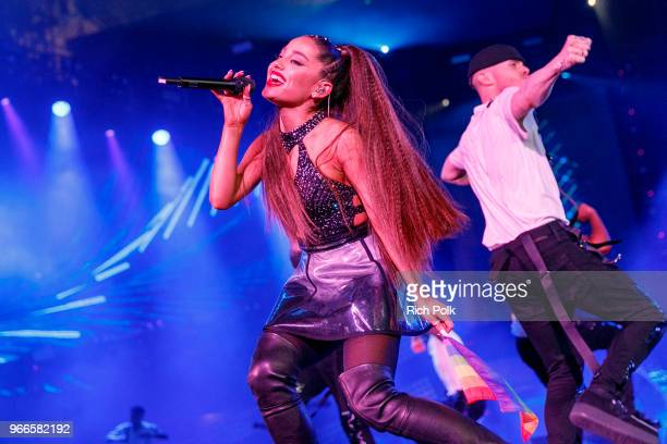 Ariana Grande performs onstage during the 2018 iHeartRadio Wango Tango by ATT at Banc of California Stadium on June 2 2018 in Los Angeles California