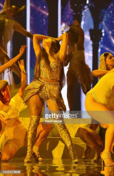 Ariana Grande performs onstage during the 2018 MTV Video Music Awards at Radio City Music Hall on August 20 2018 in New York City