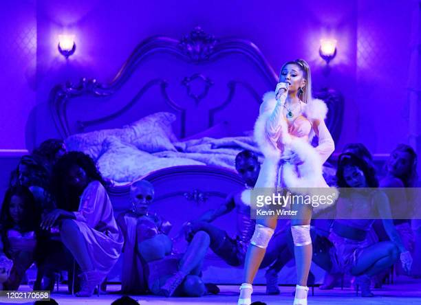 Ariana Grande performs onstage during the 62nd Annual GRAMMY Awards at STAPLES Center on January 26 2020 in Los Angeles California