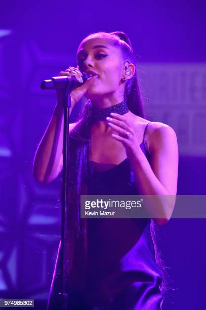 Ariana Grande performs onstage during the Songwriters Hall of Fame 49th Annual Induction and Awards Dinner at New York Marriott Marquis Hotel on June...