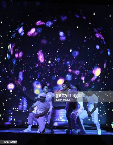 Ariana Grande performs onstage during the Sweetener World Tour Opening Night at Times Union Center on March 18 2019 in Albany New York