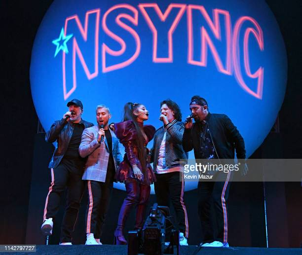 Ariana Grande performs onstage with members of NYSNC Joey Fatone Lance Bass JC Chasez and Chris Kirkpatrick Coachella Stage during the 2019 Coachella...