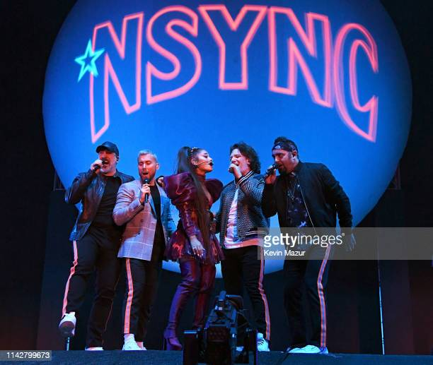 Ariana Grande performs onstage with members of NYSNC Joey Fatone, Lance Bass, JC Chasez, and Chris Kirkpatrick Coachella Stage during the 2019...