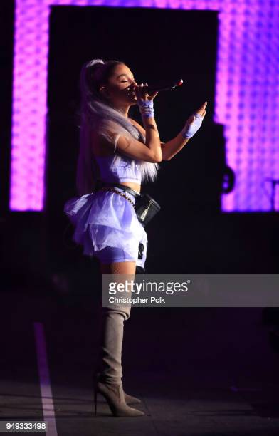 Ariana Grande performs with Kygo onstage during the 2018 Coachella Valley Music And Arts Festival at the Empire Polo Field on April 20 2018 in Indio...