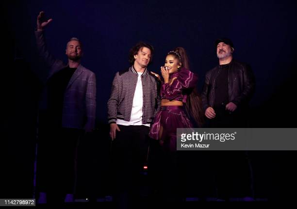 Ariana Grande performs with members of NSYNC Lance Bass JC Chasez and Joey Fatone on Coachella Stage during the 2019 Coachella Valley Music And Arts...