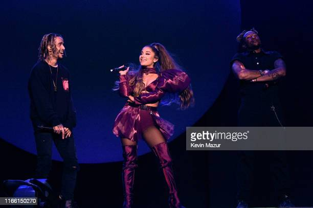 Ariana Grande performs with Mikey Foster and Scootie Anderson of Social House at Lollapalooza at Grant Park on August 04 2019 in Chicago Illinois