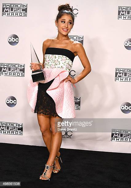 Ariana Grande poses at the 2015 American Music Awards at Microsoft Theater on November 22 2015 in Los Angeles California