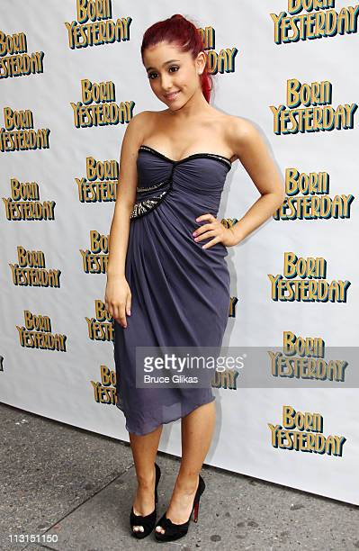 Ariana Grande poses at The Opening Night of Born Yesterday on Broadway at The Cort Theatre on April 24 2011 in New York City