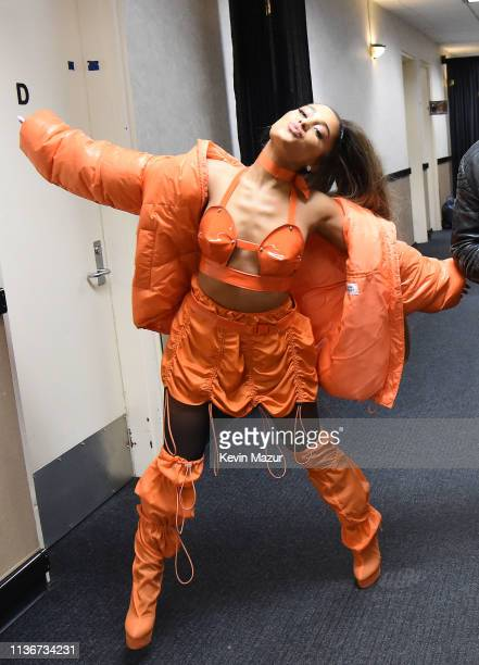 Ariana Grande poses backstage during the Sweetener World Tour Opening Night at Times Union Center on March 18 2019 in Albany New York