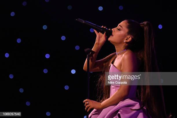 Ariana Grande preforms at Billboard Women In Music 2018 on December 6, 2018 in New York City.