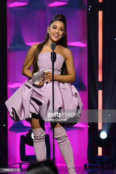 Ariana Grande speaks onstage at Billboard Women In Music 2018 on December 6, 2018 in New York City.