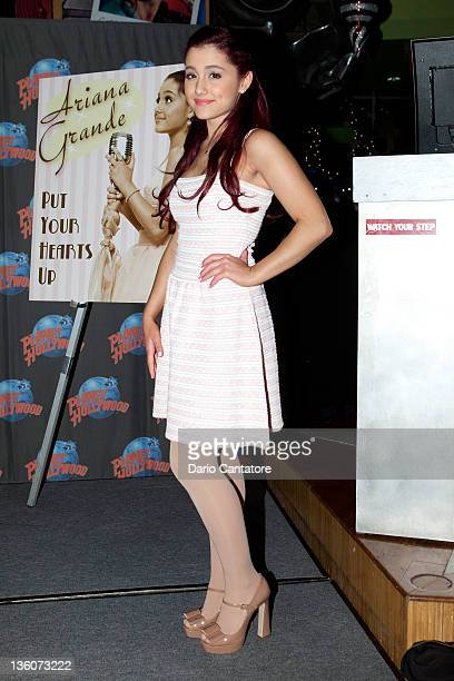 Ariana Grande visits Planet Hollywood Times Square on December 22 2011 in New York City