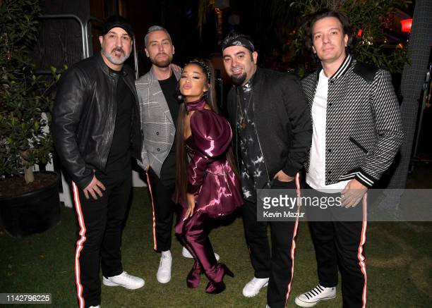 Ariana Grande with members of NSYNC Joey Fatone Lance Bass Chris Kirkpatrick and JC Chasez attend 2019 Coachella Valley Music And Arts Festival on...
