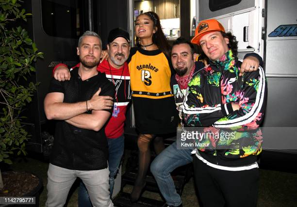Ariana Grande with members of NSYNC Lance Bass Joey Fatone Chris Kirkpatrick and JC Chasez attend 2019 Coachella Valley Music And Arts Festival on...