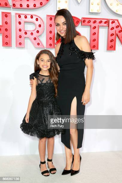 Ariana Greenblatt and Mila Kunis attend the premiere of STX Entertainment's 'A Bad Moms Christmas' at Regency Village Theatre on October 30 2017 in...