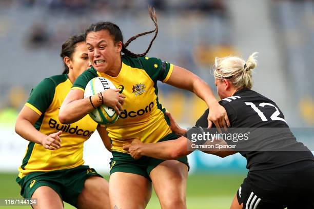 Ariana Hira-Herangi of the Wallaroos is tackled during the Women's Test Match between the Australian Wallaroos and the New Zealand Black Ferns at...