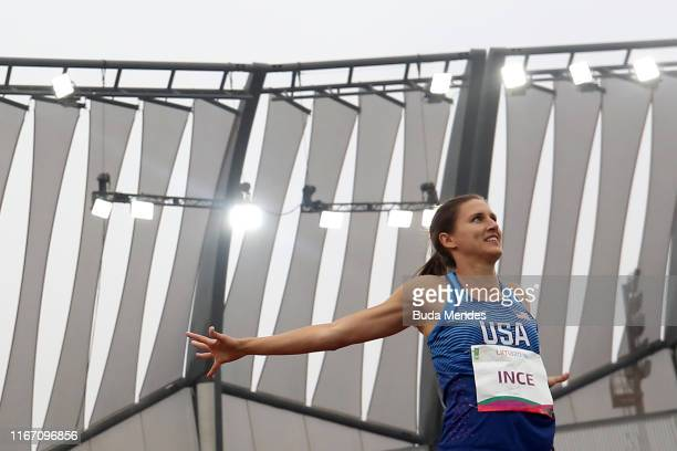 Ariana Ince of United States reacts in Women's Javelin Throw Final on Day 14 of Lima 2019 Pan American Games at Athletics Stadium of Villa Deportiva...
