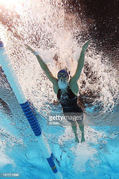 Ariana Kukors competes in preliminary heat 13 of the Women's 200 m Individual Medley during Day Three of the 2012 US Olympic Swimming Team Trials at...