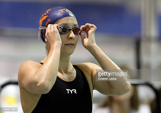 Ariana Kukors prepares to compete in the women's 200m IM final during the 2012 Charlotte UltraSwim Grand Prix at Mecklenburg County Aquatic Center on...