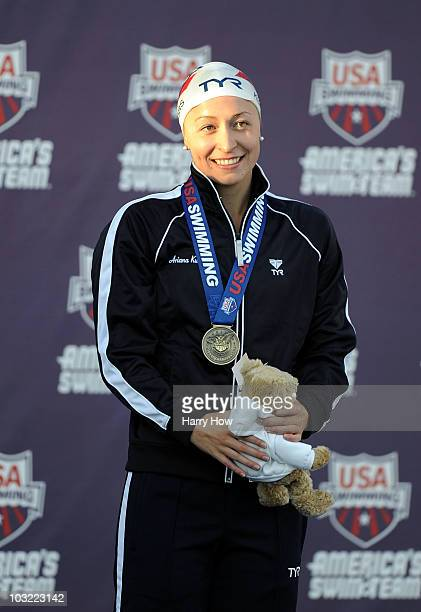 Ariana Kukors reacts to a first place finish in the Women 200 LC Meter IM Final at the William Woollett Jr Aquatics Complex on August 3 2010 in...