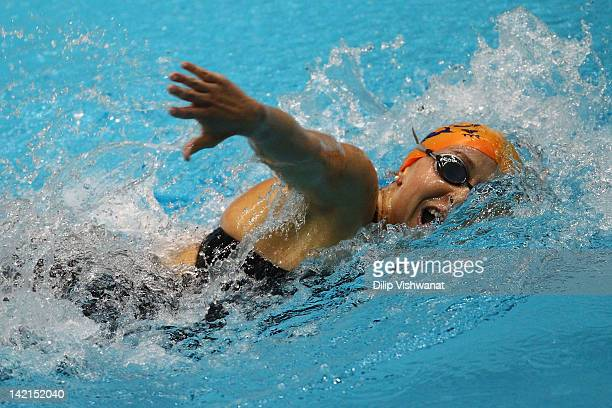 Ariana Kukors swims in the women's 200 meter freestyle finals during day two of the Indy Grand Prix @ the Nat at the Indiana University Natatorium on...