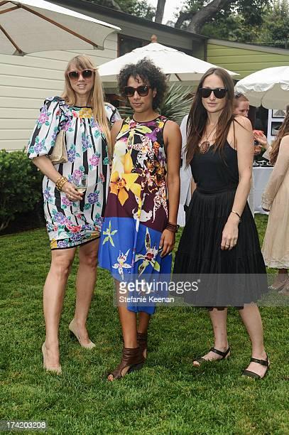 Ariana Lambert Smeraldo, Amanda Hunt and Shana Lutker attend LAXART 2013 Garden Party on July 21, 2013 in Los Angeles, California.