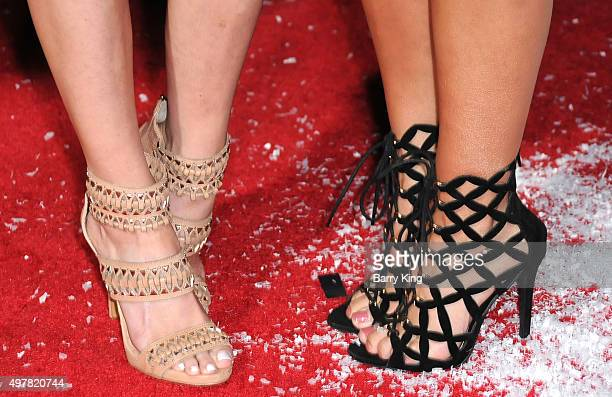 Ariana Madix and Scheana Marie, shoe detail, attend premiere of Columbia Pictures' 'The Night Before' at The Theatre At The Ace Hotel on November 18,...