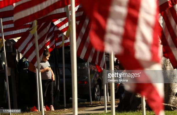 CITY CA NOVEMBER 11 2020 Ariana Mendoza looks over a Tribute to Heroes in honor of Veterans Day along Overland Avenue in Culver City on November 11...