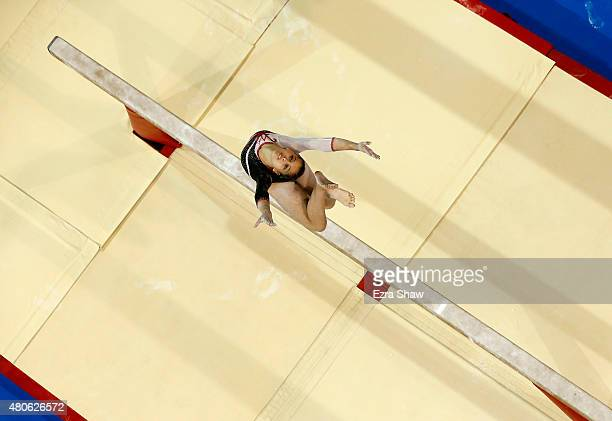 Ariana Orrego Martinez of Peru competes on the balance beam during the women's all around artistic gymnastics final on Day 3 of the Toronto 2015 Pan...