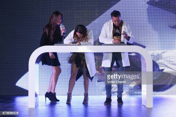 Ariana Ron Pedrique Ari Camacho and Chumel Torres attend the launch of TAG Heuer Connected Modular 45 at Altto San Angel on April 26 2017 in Mexico...