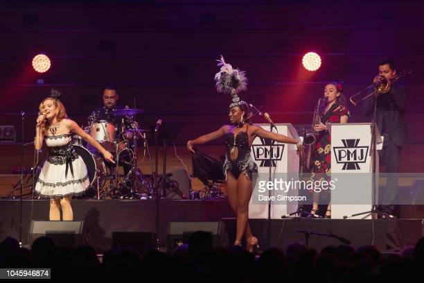 Ariana Savalas and Anissa Lee of the American band Scott Bradlee's Postmodern Jukebox perform on stage at Auckland Town Hall on October 5 2018 in...