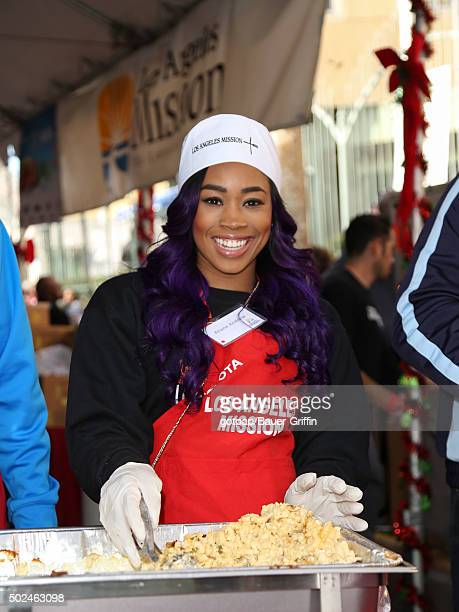 Ariane Andrew is seen at the annual Los Angeles Mission Christmas Dinner on December 24 2015 in Los Angeles California