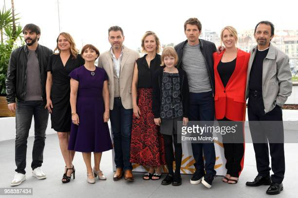 Ariane Ascaride Clovis Cornillac Karin Viard Cyrille Mairesse Pierre Deladonchamps Andrea Bescond and two guests attend the photocall for 'Little...