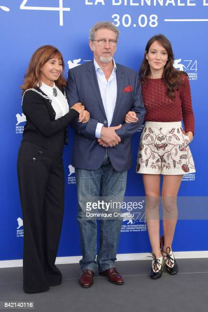 Ariane Ascaride Robert Guediguian and Anais Demoustier attend the 'The House By The Sea ' photocall during the 74th Venice Film Festival at Sala...