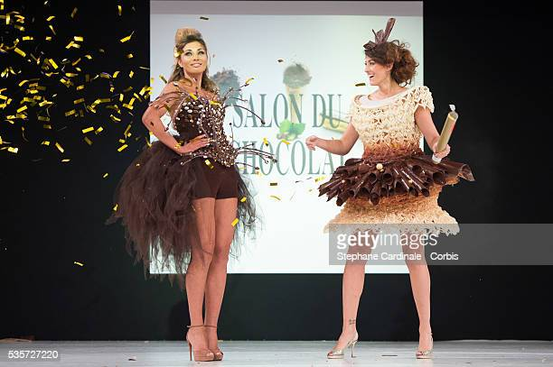 Ariane Brodier and Rachel LegrainTrapani walk the runway during the 'Salon Du Chocolat' Fashion Show on October 29 2014 in Paris France
