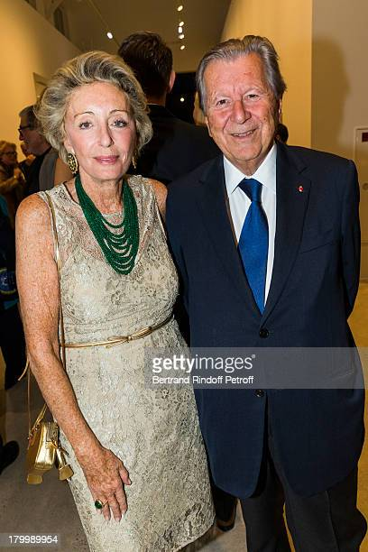 Ariane Dandois and Bruno Roger attend the Georg Baselitz exhibition preview and dinner at Thaddeus Ropac Gallery on September 7 2013 in Pantin east...
