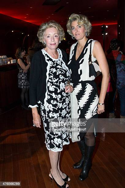 Ariane Dandois and Ondine de Rothschild attend the Martine Aublet Foundation gala dinner at the Musee Du Quai Branly on March 3 2014 in Paris France