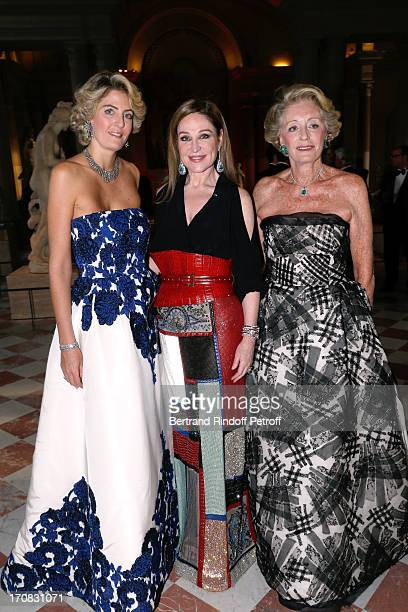 Ariane Dandois with her daughter Ondine de Rothschild and Becca Cason Thrash attend 'Liaisons Au Louvre III' Charity Gala Dinner Hosted by American...