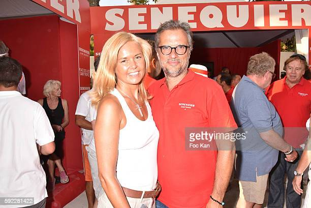 Ariane de Senneville and Thierry Bourdoncle fPresident of Senequier attend theTrophee Senequier At Place des Lices on August 19 2016 in SaintTropez...