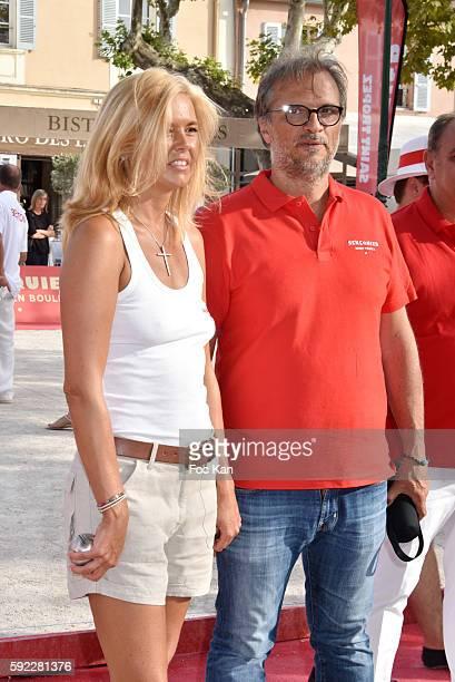 Ariane de Senneville and Thierry Bourdoncle from Senequier attend theTrophee Senequier At Place des Lices on August 19 2016 in SaintTropez France