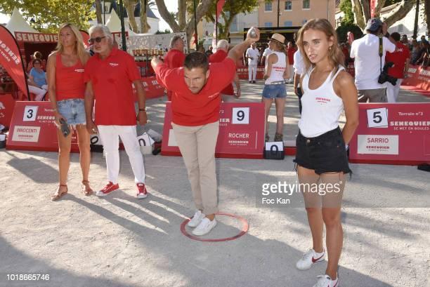 Ariane de Senneville Franck Provost petanque champion Dylan Rocher and Mathilde Laffont attend the Trophee Senequier 2018 at Place des Lices...