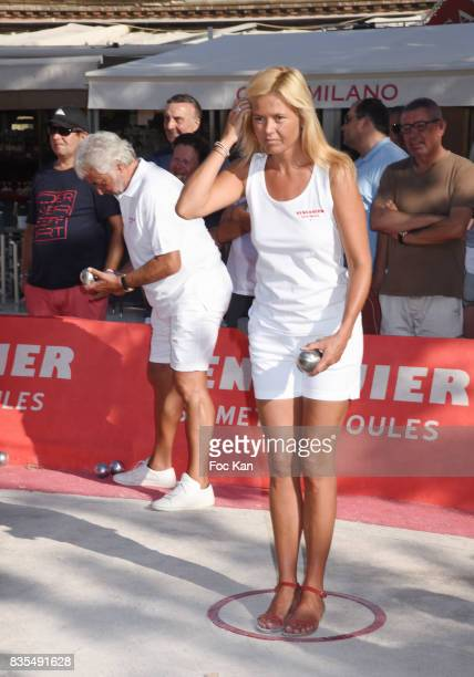 Ariane de Senneville plays during the Trophee Senequier Petanque competition at Place des Lices SaintTropez on August 18 2017 in SaintTropez France