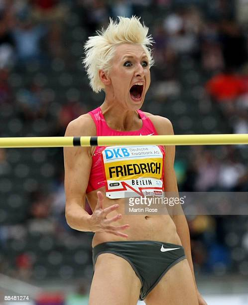 Ariane Friedrich of Germany celebrates during the women's high jump at the IAAF Golden League ISTAF meet at the Olympic Stadium on June 14 2009 in...