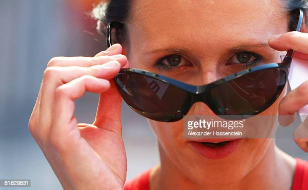 Ariane Friedrich of Germany wins the Women's High Jump Final on day one of the German National Athletics Championships at the easyCredit stadium on...