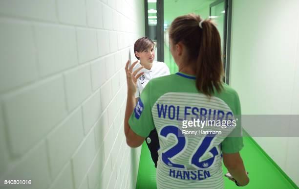 Ariane Hingst and Caroline Hansen of VfL Wolfsburg during the Allianz Frauen Bundesliga Club Tour at AOK Stadion on August 29 2017 in Wolfsburg...