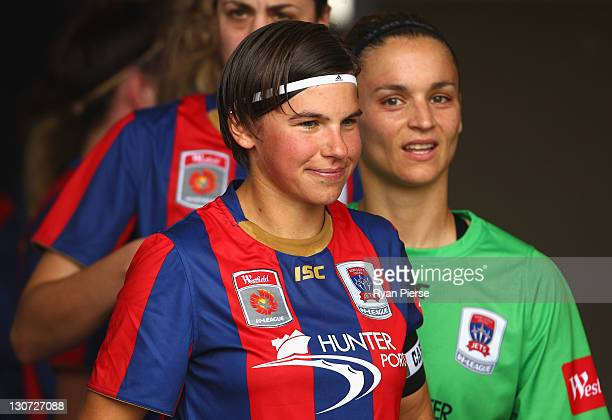 Ariane Hingst and Melissa Barbieri of Newcastle look on before the round two WLeague match between the Newcastle Jets and Adelaide United at...